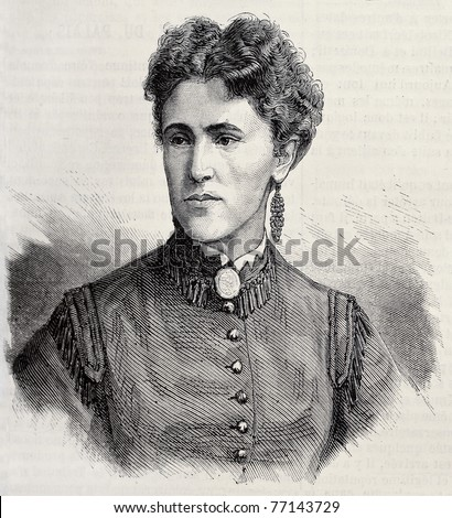 Old engraved portrait of Mademoiselle Krauss, actress and opera singer. Original, created by Chenu, was published on L'Illustration, Journal Universel, Paris, 1868 - stock photo