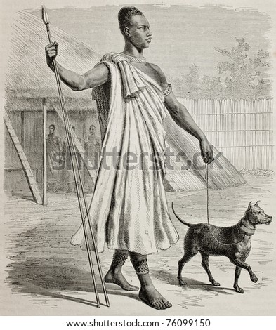 Old engraved portrait of Mtesa, King of Uganda. Created by Durand and Sichon, published on Le Tour du Monde, Paris, 1864 - stock photo