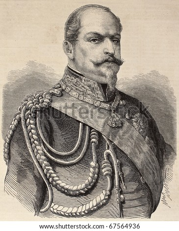 Old engraved portrait of Prince Eugene de Savoy-Carignano. Original, from drawing of Marc, was  published on L'Illustration, Journal Universel, Paris, 1860 - stock photo