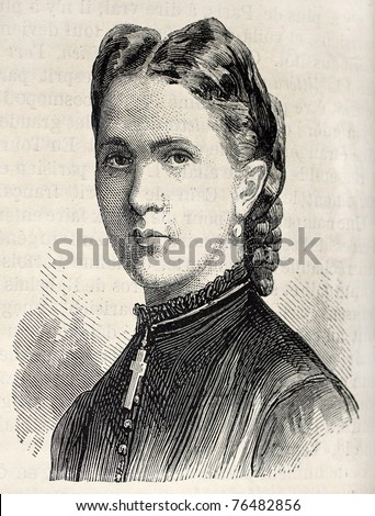 Old engraved portrait of princess Marie of Hanover. Created by Chenu, published on L'Illustration, Journal Universel, Paris, 1868 - stock photo