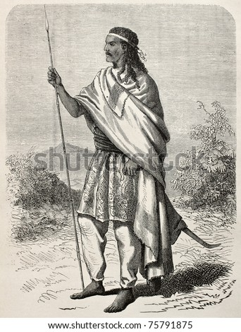 Old engraved portrait of Tewodros II, Abyssinian emperor. Created by Janet-Lange and Huyon, published on Le Tour du Monde, Paris, 1864 - stock photo