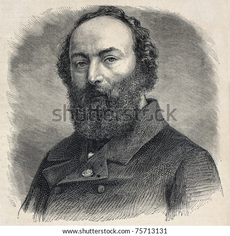 Old engraved portrait of Theodore Rousseau, French landscape painter of the Barbizon school. Created by Chenu, published on L'Illustration, Journal Universel, Paris, 1868 - stock photo