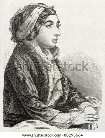 Old engraved portrait of Turkish woman in Constantinople. Created by Marc, published on L'Illustration Journal Universel, Paris, 1857 - stock photo