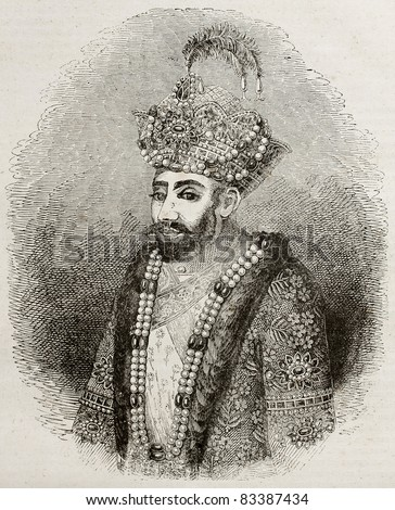 Old engraved portrait of Zahir ad-Din Muhammad, better known as Babur, Muslim conqueror of central Asia in 16th century. Engraved after Indian miniature, published on Magasin Pittoresque, Paris, 1840 - stock photo