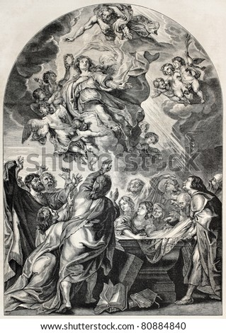 Old engraved reproduction of the Assumption of Mary, by Rubens. Engraved by Jourdain, published on L'Illustration, Journal Universel, Paris, 1857 - stock photo