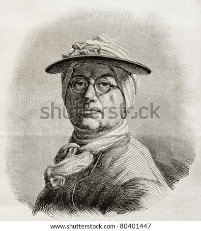 Old engraved self-portrait of Jean Baptiste Simenon Chardin, French painter. Create by Bocourt after Chardin, published on Magasin Pittoresque, Paris, 1850 - stock photo