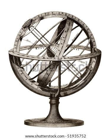 Old engraving illustration of planet season system model - stock photo