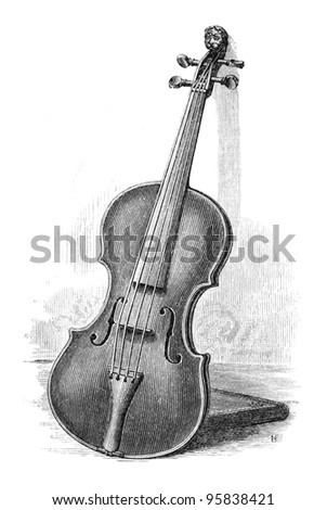 Old Engraving of a violin. Engraving by unknown artist from Harper?s New Monthly Magazine, January 1881 - stock photo