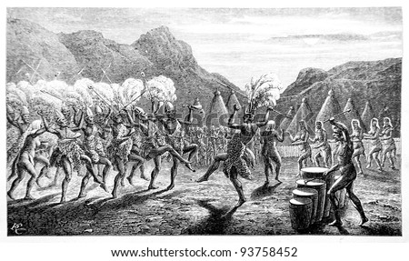 Old engraving of Funeral dance in Latuk tribe. Created by Neuville, published on Travel to upper Nile and exploration of its sources by Sir Samuel White Baker (British explorer), Moscow, 1868 - stock photo