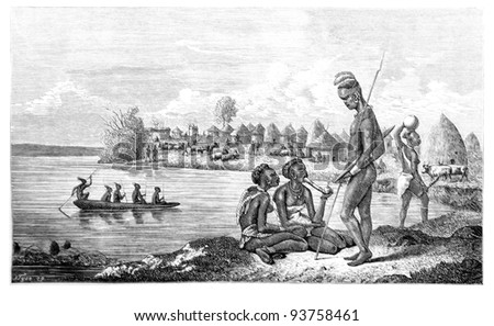 Old engraving of Kitch village. Created by Neuville, published on Travel to upper Nile and exploration of its sources by Sir Samuel White Baker (British explorer), Moscow, 1868 - stock photo