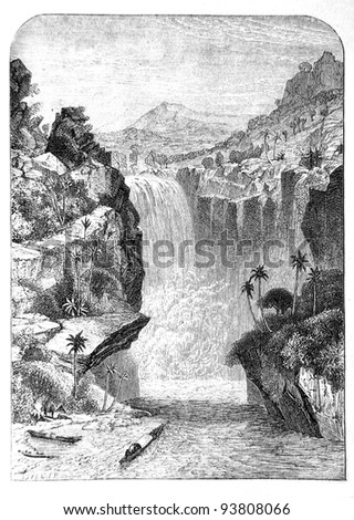 Old engraving of Murchison Falls. Created by Neuville, published on Travel to upper reaches of the Nile and exploration of its sources by Sir Samuel White Baker (British explorer), Moscow, 1868 - stock photo