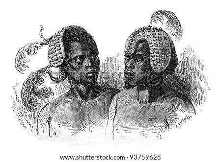 Old engraving of Obbo tribesmen in hats. Created by Neuville, published on Travel to upper reaches of the Nile and exploration of its sources by Sir Samuel White Baker (British explorer), Moscow, 1868 - stock photo