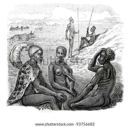 Old engraving of tribal chief and his daughter. Created by Neuville, published on Travel to upper Nile and exploration of its sources by Sir Samuel White Baker (British explorer), Moscow, 1868 - stock photo