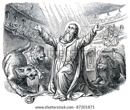"Old engravings. Depicts Saint Ignatius of Antioch takes a martyr's death. The book ""History of the Church"", circa 1880"