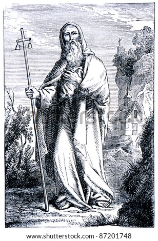 """Old engravings. Portrayed Anthony the Great. The book """"History of the Church"""", circa 1880 - stock photo"""