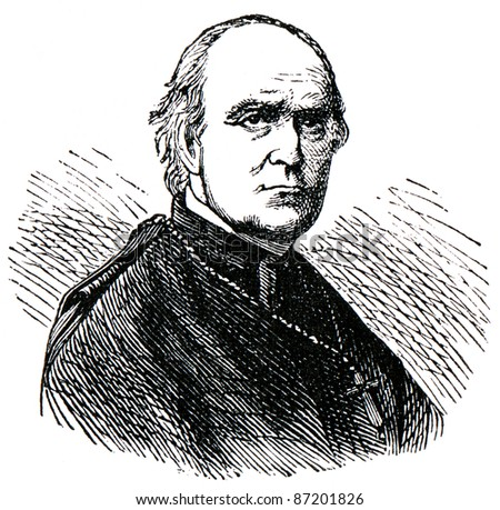 "Old engravings. Shown Wilhelm Emmanuel Freiherr von Ketteler. The book ""History of the Church"", circa 1880"