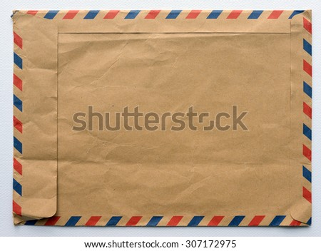 old envelope, brown color  - stock photo