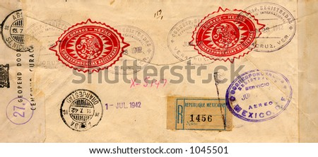 Old envelope from the 1940's - stock photo