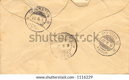 Old envelope from the 1930's - stock photo