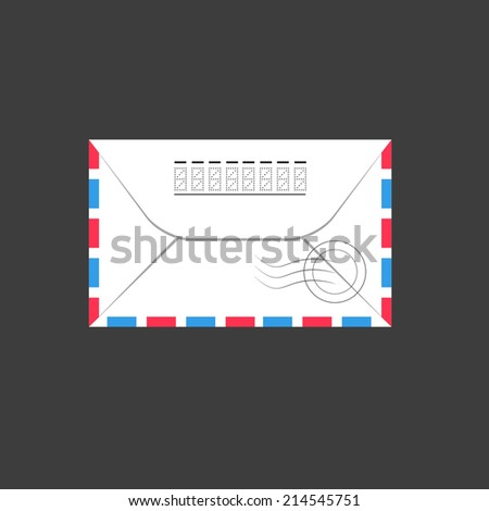 Old envelope Illustration, flat - stock photo