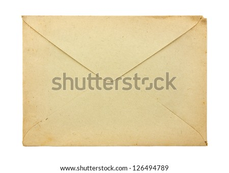 Old envelope isolated on a white background - stock photo