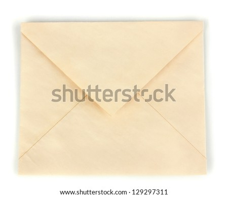 Old envelope isolated on white