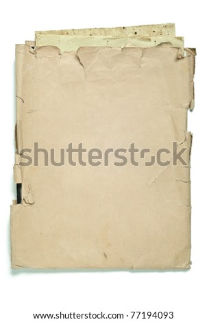 Old envelope with papers isolated on white - stock photo