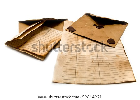 old envelopes and paper - stock photo