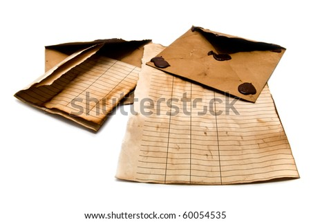 old envelopes and paper on a white background - stock photo