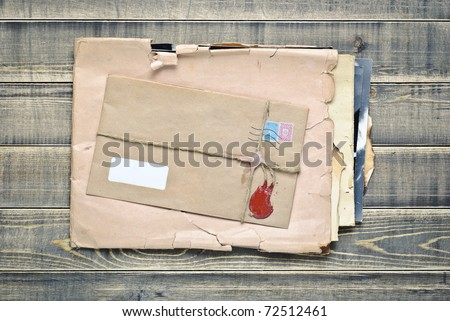 Old envelopes with papers
