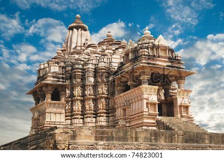 Old Erotic Temple in Khajuraho, Madhya Pradesh, India - stock photo