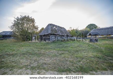 old ethnic Ukrainian village in autumn - stock photo
