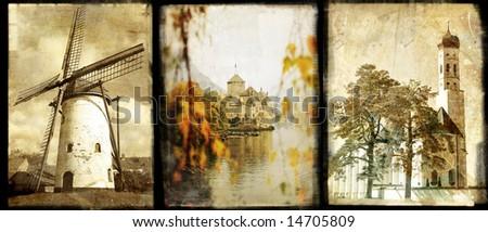 Old Europe - vintage photo-album series - stock photo