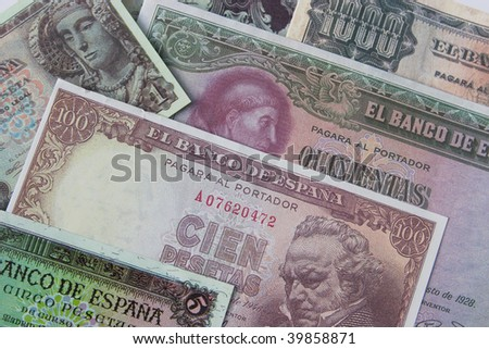 Old European Banknotes before the Euro Currency - stock photo