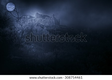 Old european castle in a foggy full moon night - stock photo
