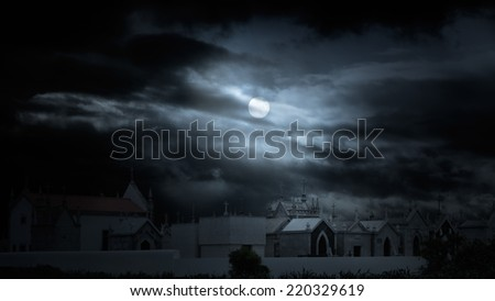 Old european cemetery in a cloudy full moon night. Added some digital noise. - stock photo