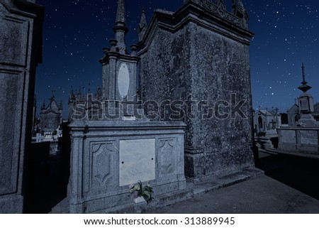 Old european cemetery in a starry night - stock photo