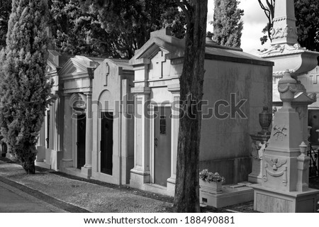 Old european cemetery. Infrared black and white. - stock photo