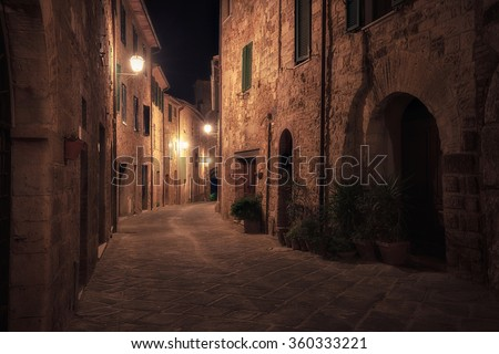 Old european city at night. Tuscany, Italy