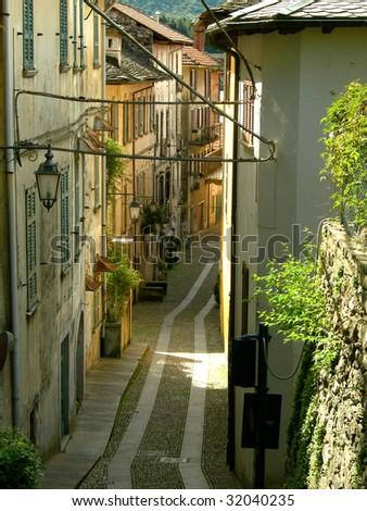 Old european street - stock photo