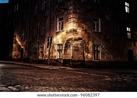 Old European town at night - stock photo