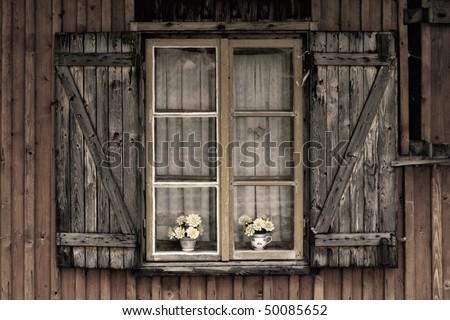 Old European Wooden Window Shutters Flower Stock Photo