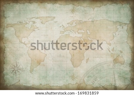 old exploration and adventure map background - stock photo