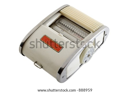 Old exposure meter isolated on white background with clipping path - stock photo