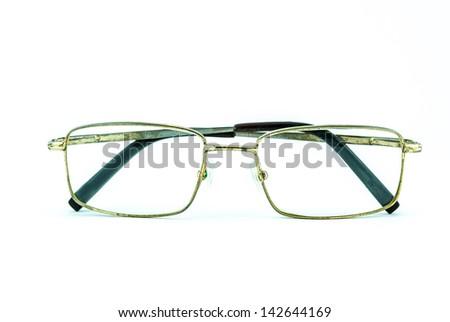 Old Eye Glasses Isolated on White - retro glasses - rusty glasses isolated - stock photo