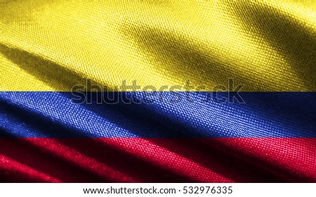 Old fabric texture flag of the colombia