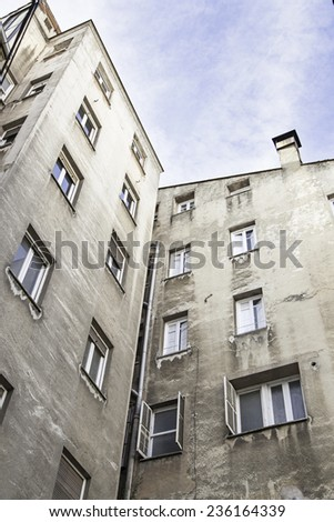 Old facade, detail of classic architecture - stock photo
