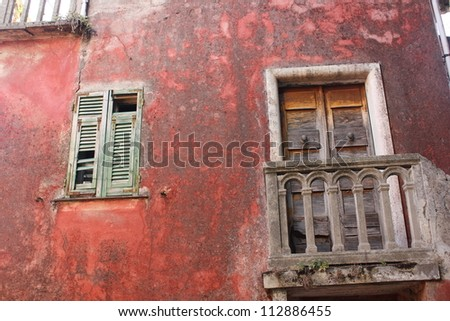Old facade in Cinque Terre Village, Legnaro, Levanto, Italy - stock photo