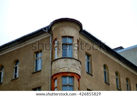 old facade of residential houses in berlin - stock photo