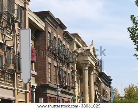Old facades of a small american town - stock photo